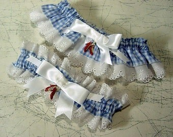 wedding garter set the Original Ruby Slipper  Wizard of Oz wedding Keep  and  Toss  a Peterene Design