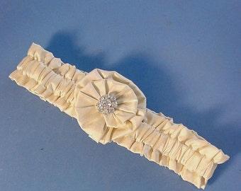 Wedding garter SILK n Crystals  toss  a PETERENE DESIGN deluxe