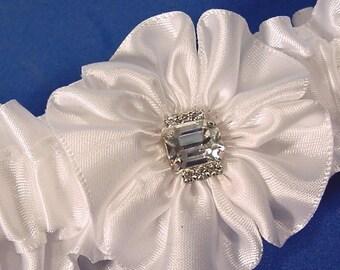 Bashful Bling wedding garter in white A  Peterene  design RhinestoneS and crystals