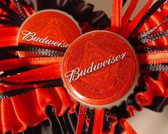 wedding garter set Budweiser Bottle Cap Keepsake a Peterene Design