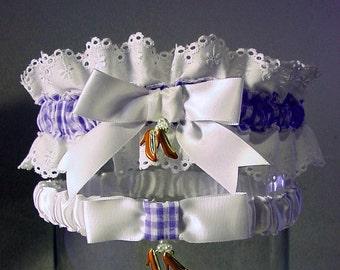 wedding garter set Ruby Slipper  Wizard of Oz wedding  Combo 2 Keep  and  Toss  a Peterene Design