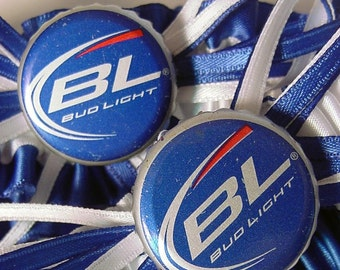 Wedding garter set BUDLIGHT Bottle Cap  a Peterene Design