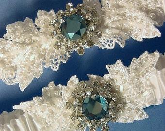 wedding garter set Anastasia Crystal and Pearl ivory  wedding garter Swarovski a Peterene Original
