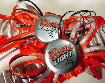 wedding garter set Coors Light  Bottle Cap Keepsake a Peterene Design