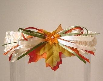 Wedding garter FALL BRIDE TOSS Autumn Leaves
