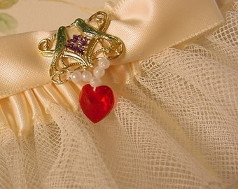 LOVE BIRD  garter WEDDING or PROM crystal heart.