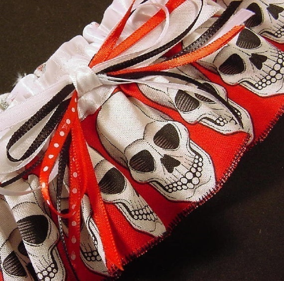 Funny Wedding Garters: Skull Wedding Garter FUN And SCARY Red Black And By
