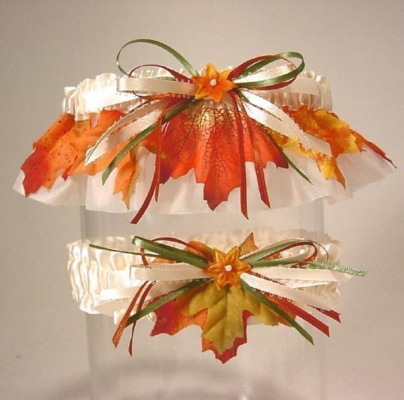 wedding garter set  FALL BRIDE  autumn leaves a Peterene Design original