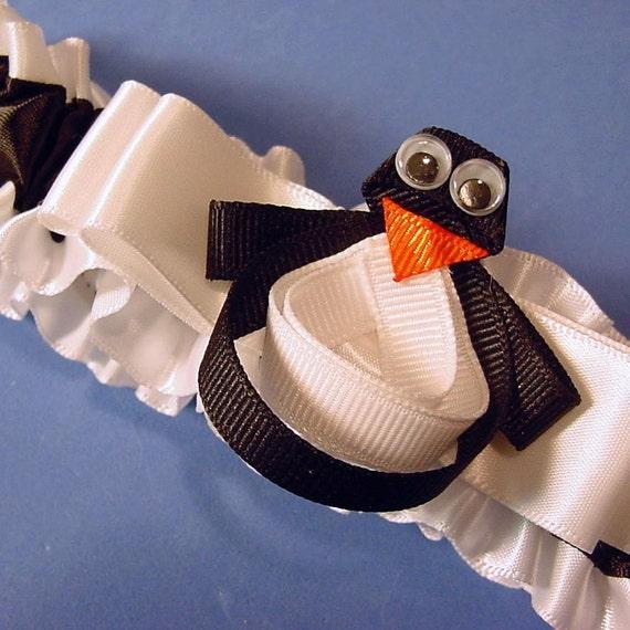wedding garter perky penguin design Wedding or Prom garter