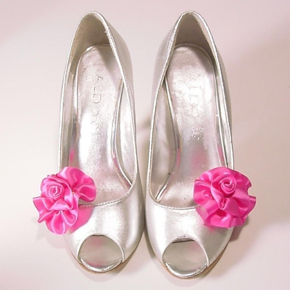 Fuschia SHOE CLIP set  handmade satin roses your choice of colors