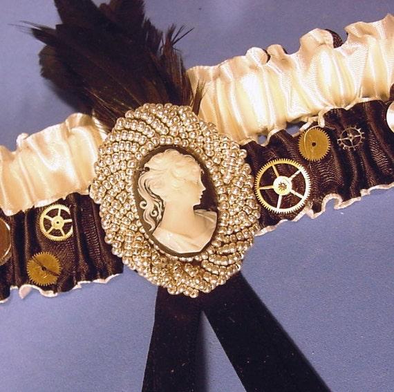 Rush Reserve lsiting for snoopy828 set Wedding garter The STEAMPUNK Bride  a Peterene design OOAK