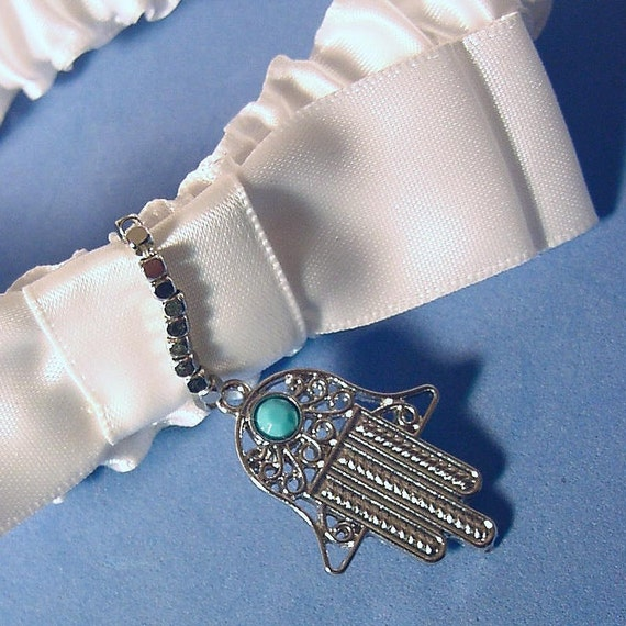 wedding garter hamsa  a Peterene original design  Asian Fusion