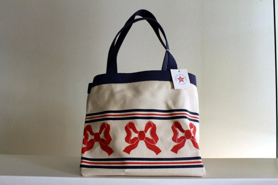 Vintage Americana Red Bow Tote