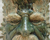 Ceramic Green Man wall sconce Moss Green