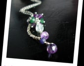 Sapphire necklace -  Amethyst, Green Onyx and Rainbow Moonstone necklace in sterling silver - Princess