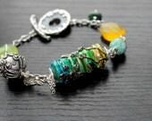 Multi Chalcedony, blue agate, Ornate Bali Bead, columbian emerald, Lampwork barrel bead Bali Sterling  Bracelet - Intrigue