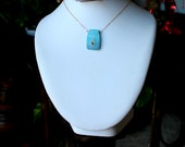 Blue Agate Slice set with Gold and crystal in simple 14k gold fill necklace - Calm Waters