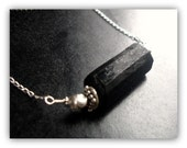 Black Tourmaline Bar and bali beads Sterling necklace - Scroll