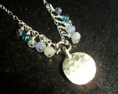 Blue Topaz jewelry - blue Gemstone necklace with Bali Textured round charm in sterling SIlver - Soft Blues