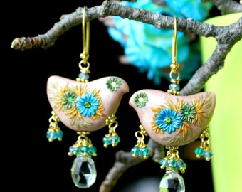 Prehnite, Blue and Green mystic quartz gold earrings, floral clay dove earrings,bird earrings -  Sweet Lil Whispers