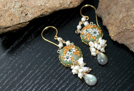 Keishi Pearl and labradorite earrings - With clay cabachons-  Awaiting