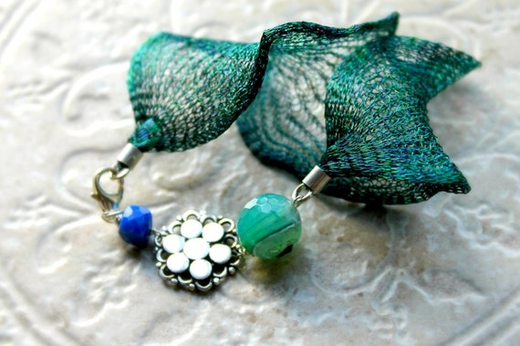 Italian Titanium mesh in peacock, sterling flower bead , Lapiz Lazuli and Seafoam Green Agate sterling bracelet - Gossamer Wings