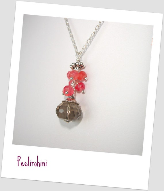 Smokey Quartz necklace with Grapefruit Chalcedony in Sterling Silver - Beautiful Things