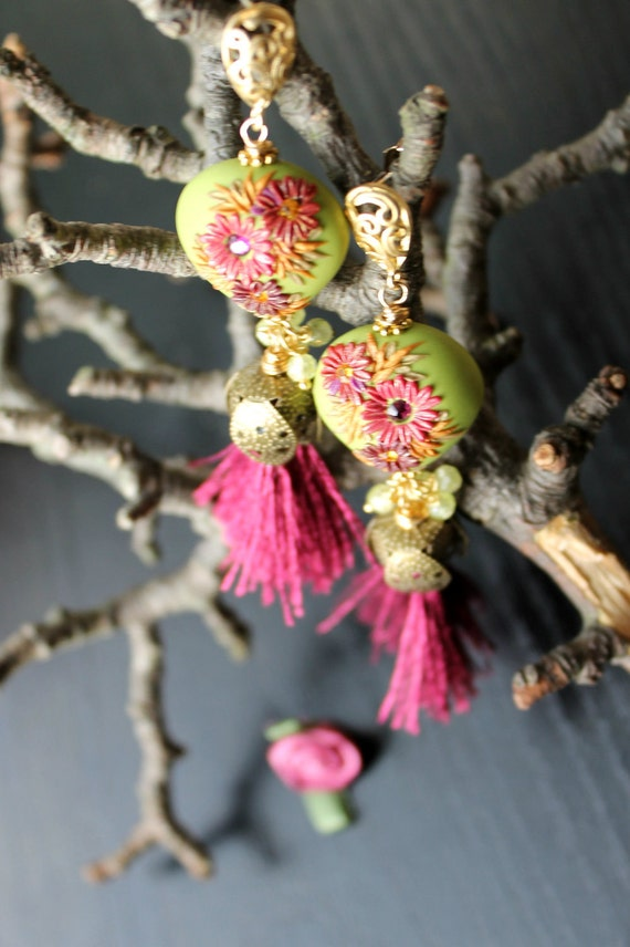 Lime Green CZ, clay, swarowski crystal and silk tassel gold earrings -fig and chartreuse spring earrings - Path across the Raspberry Patches