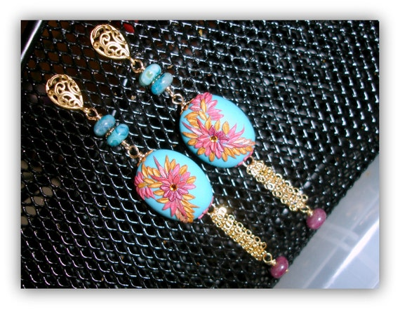 Ruby and Blue Lace Agate in Turquoise gold earrings -  with polymer clay in Gold fill - Music Pink and Blue