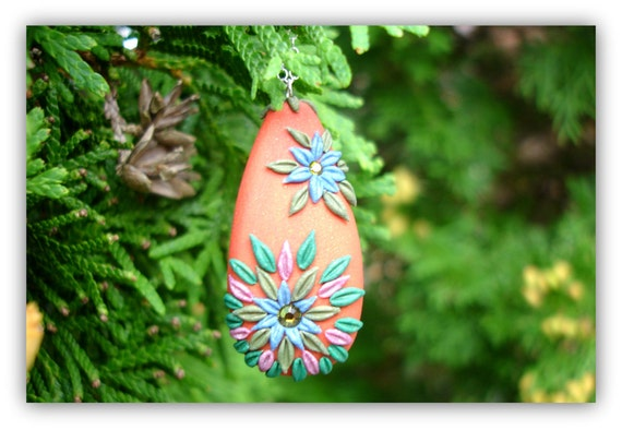 Handmade Polymer clay Bead with Swarowski crystals in Sterling Necklace - Easter Egg