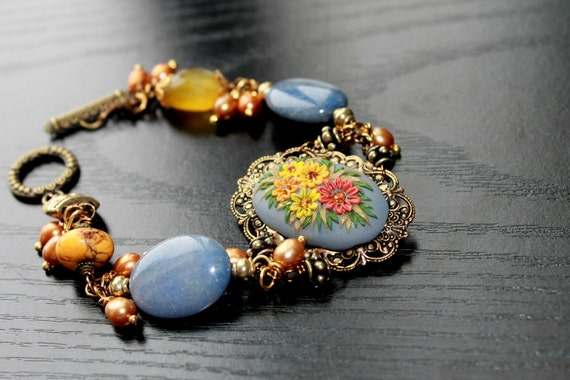 Stunning Periwinkle Agate, Yellow Turquoise, Yellow chalcedony, and Freshwater pearl bracelet in Brass - Oh Happy Days