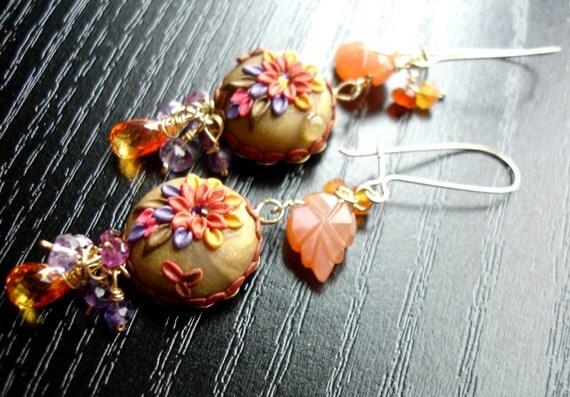 Gemstone cluster earrings - Padparadscha sapphire,amethyst, garnet,moonstone, carnelian in 14k gold fill - Basking in the Golden Sun
