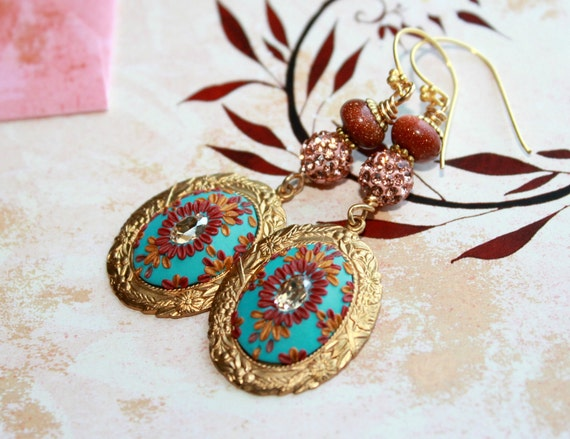 Jewel tones, crystal pave bead, sand stone, turquoise ,red, gold earrings in vintage gold floral frame - Going Hollywood