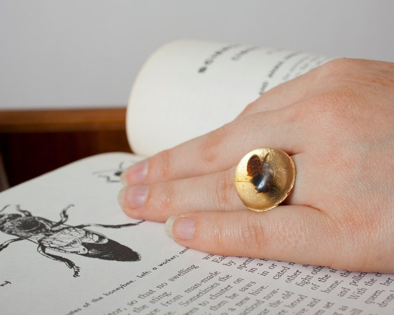 Round Real Bee Ring in Gold, Colony Collapse Jewelry