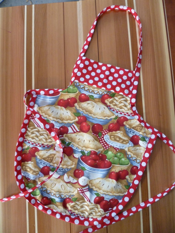 Kids Full Apron Bake Sale Apron Apples and Apple Pies Timeless Treasures Fabric