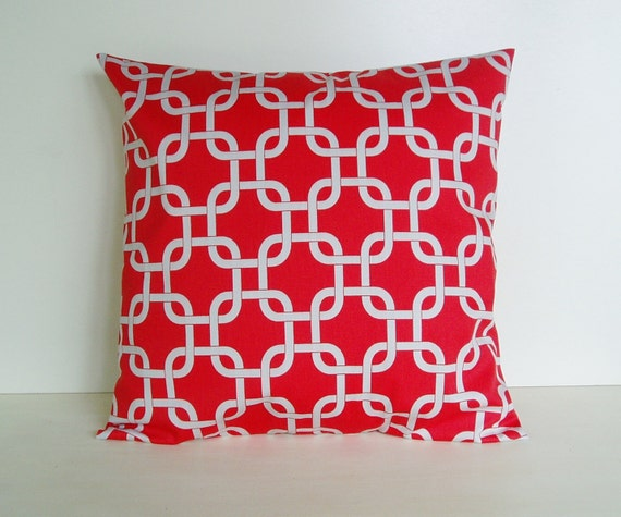 Pillow Cover Accent Red Gray Throw Decorative 20x20 Cotton Home Decor