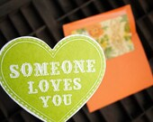 someone loves you letterpress heart card