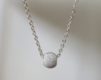 Thin Silver Chain Necklace / Tiny Silver Bead Necklace /  Dainty Everyday Silver Necklace