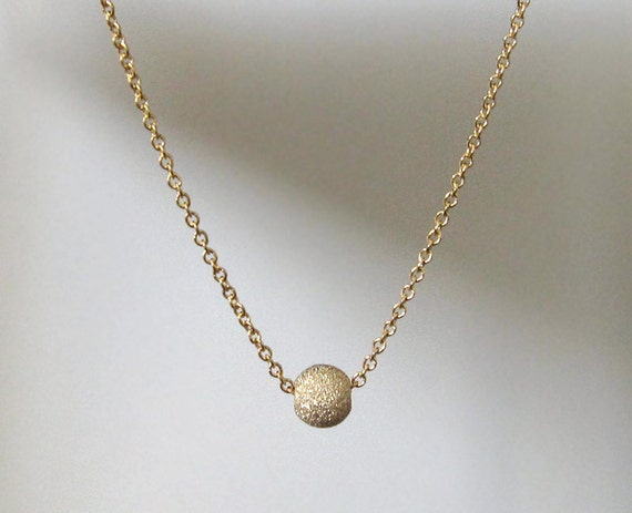 Tiny Gold Bead Necklace /  Simple Gold Necklace Design / Etsy Jewelry