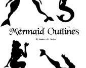 Mermaid Outline Template Patterns Instant Digital Download
