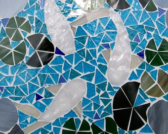 Mosaic Koi Pond Framed Mosaic