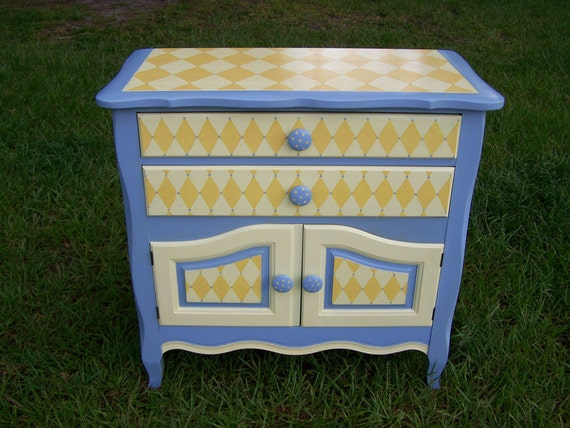 Hand-painted Furniture Cabinet/Buffet in Periwinkle blue and Butter-cream Yellow