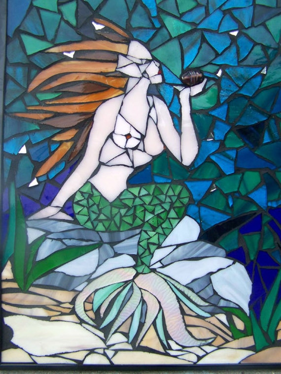 Mermaid Mosaic Framed Underwater Scene Blue Glass