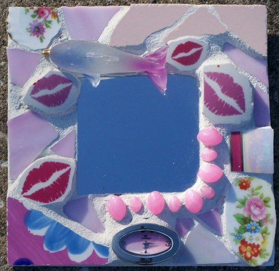Mini Assemblage Mosaic Mirror in Pinks with a Dolphin, Kisses, Roses and a Watch