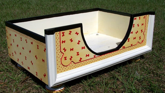 Dog Bed in Black, Gold, Cream and Little Red Dogbones and Dots for Small to Medium Small Breeds