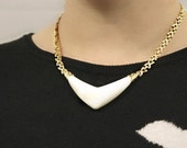 Vintage Golden Necklace with White Inlay