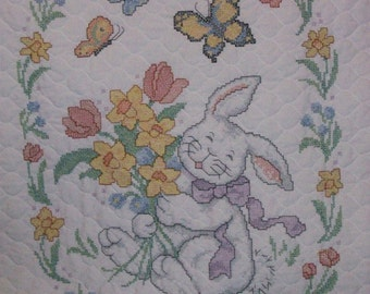 Embroidered Vintage Bunny baby quilt