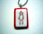 sock monkey glass fused necklace handmade