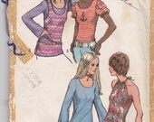 Vintage Pattern - Simplicity 9930 - Misses Set of Tops for Knit Fabric - 1972 - Size 14