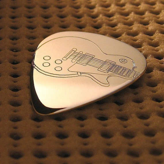 Sterling Silver Les Paul Electric Guitar Pick Personalized with a message of your choice on the back.